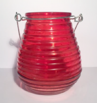 Beehive Glass Coloured Tea Light ~ Red